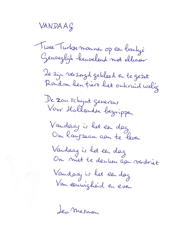 Gedicht Vandaag Leo Mesman