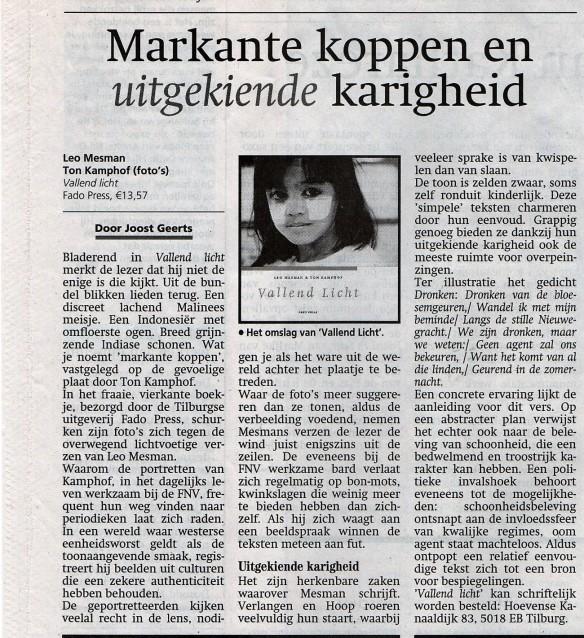 Recensie Vallend Licht Brabants Dagblad 17 januari 2002