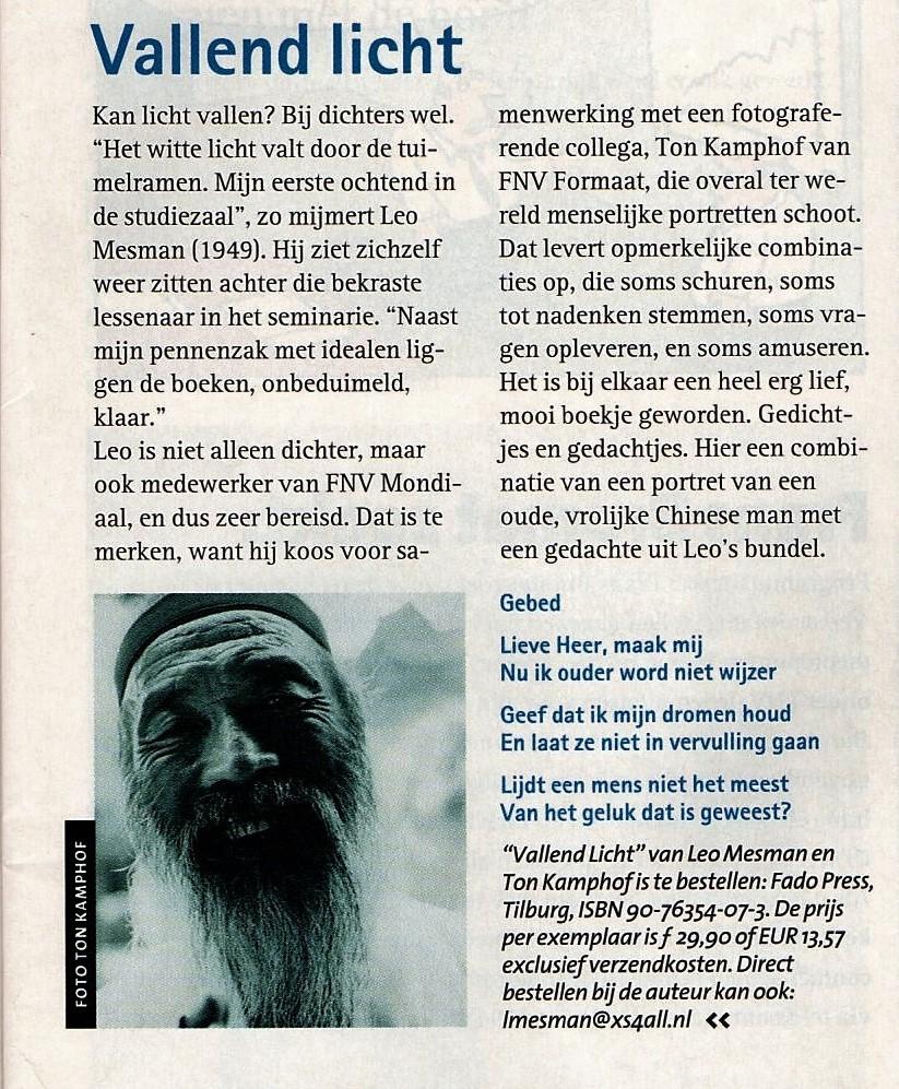 Recensie Vallend Licht FNV Magazine 13 december 2001
